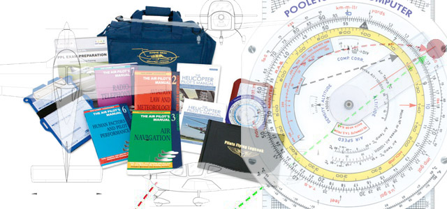 Books, navigation chart, flight computer and pilot bag