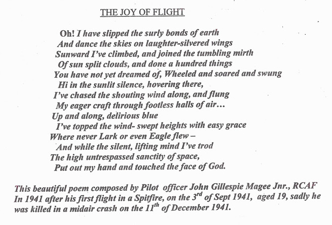 The Joy Of Flight by Officer John Gillespie Magee Jnr