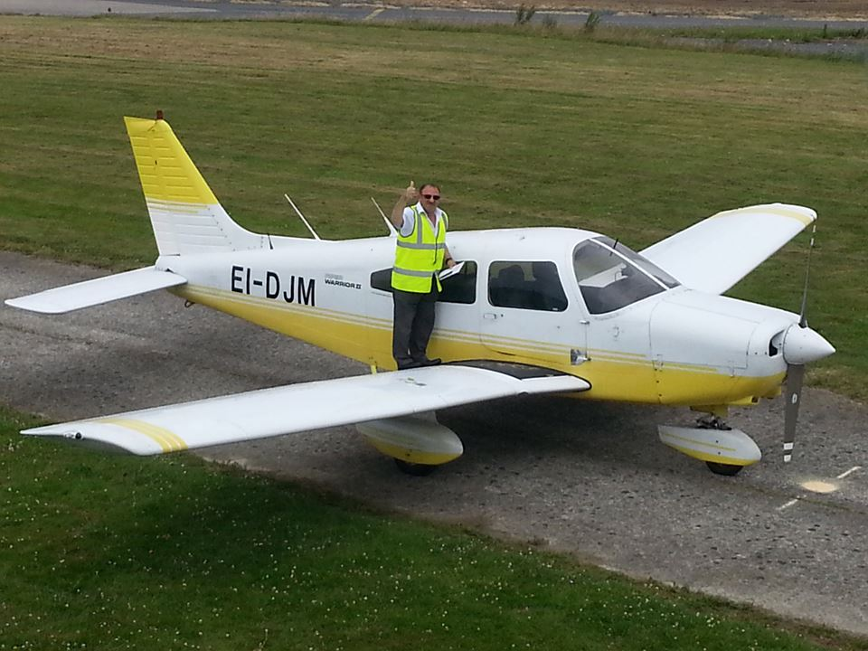 A thumbs up from John Saliba after his first solo in our Piper Warrior EI-DJM at Waterford Aero Club.