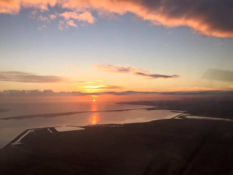 Sunset from EI-DJM overhead Waterford Airport