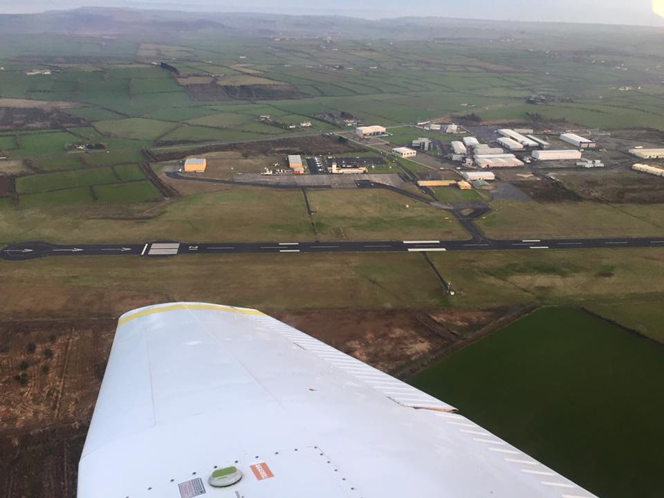 Waterford Airport runway from EI-DJM